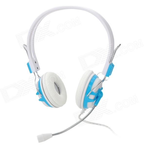 Lupuss LPS-1507 Headset Headphones w/ Microphone - White + Blue (180cm-Cable)