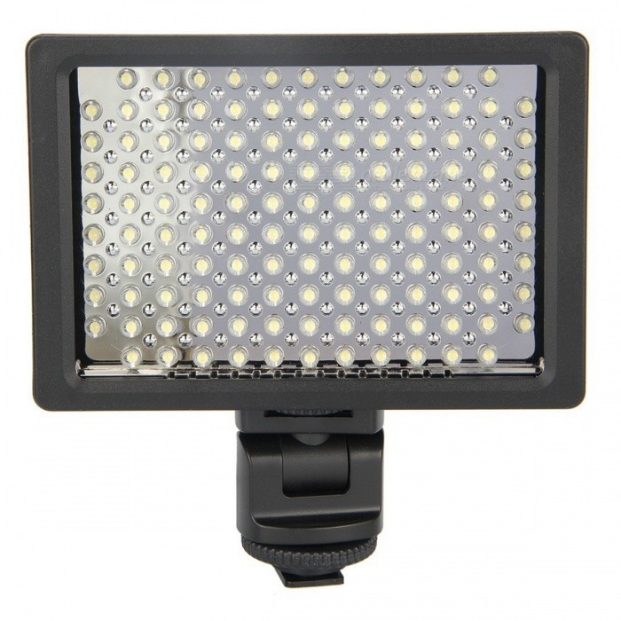 HD-126 7.6W 5600K 126-LED Video Light / Photoflood Lamp / Photography Luminaire - Black (6 x AA) - DXLighting &amp; Studio Accessories<br>Model HD-126 Quantity 1 piece(s) per pack Color Black Material Plastic Compatible Camera Brand Universal Compatible Models Universal Functions Provides excellent lighting effects to take better video and image Size 14.2 x 13 x 5.7cm Bulb Type LED Bulbs Quantity 126 Color Temperature 5600K / 3200K Brightness Control Color filters Features Standard 1/4 hot shoe port Power Supply 6 x 1.5V AA batteries (not included) or Sony NP-FH / HP-FM / NP-F series lithium battery or Panasonic CGR-D serious battery Working Voltage 9 V Power 7.6 W Other Features Working time: approximately 60 minutes; High quality LED lighting wafers; Long lifespan up to 50000 hours; High efficient power-saving lower consumption; Stable color temperature after long periods of use; Automatic IT circuit support; Utilizes high quality IC technology; Large brightness range; Low power consumption Packing List 1 x Video lighting 3 x Color plates (orange transparent purple) 1 x Battery case<br>