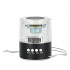 Portable 3-LED 1-Channel Media Player Speaker w/ TF / FM - Translucent + Black + Silver