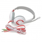 Lupuss LPS-1513 Headphones w/ Microphone - Red + White + Grey (217cm-Cable)