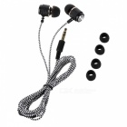 D9 3.5mm Plug Aluminum Alloy Stereo In-Ear Earphone - Black + Dark Grey (123cm-Cable)