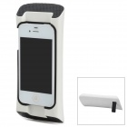 HD-01 Protective Plastic + Silicone Case / Speaker w/ Stand for iPhone 4 / 4S - White + Black