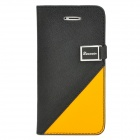 Protective PU Leather Flip-open Case w/ 2 Card Slots for iPhone 5 - Black + Yellow