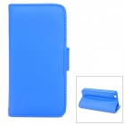 Protective PU Leather Flip-open Case w/ 2 Card Slots for Iphone 5 - Blue