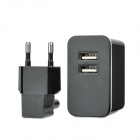 Mini Dual USB Charging Adapter + EU Plug for Iphone 5 / Ipad / Ipod / Digital Camera + More - Black