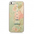 Eiffel Tower + Flower w/ Rhinestones Protective Plastic Back Case for Iphone 5 - Multicolored