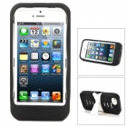 Protective Plastic + Silicone Body Case w/ Holder for iPhone 5 - White + Black
