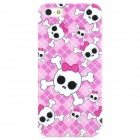 Skull Head Pattern Protective Plastic Hard Back Case for Iphone 5 - Pink