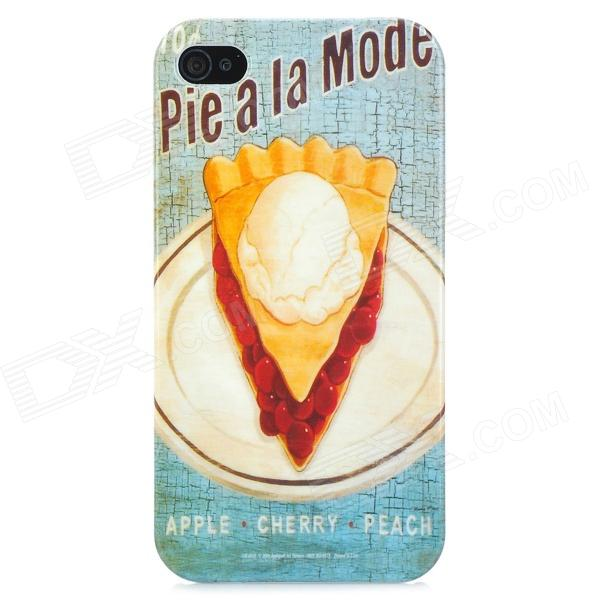 Pie a la Mode Pattern Protective PC Hard Back Case for Iphone 4 / 4S - Light Blue + Light Yellow cartoon pattern matte protective abs back case for iphone 4 4s deep pink