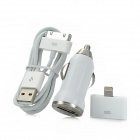 3-in-1 Car Charger + Apple 30Pin to 8Pin Adapter + USB Data Cable - White
