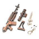 Cool Zinc Alloy Assembly Mini Gun Toy w/ Keychain - Bronze + Silver