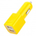 Dual USB Car Cigarette Lighter Charger - Yellow