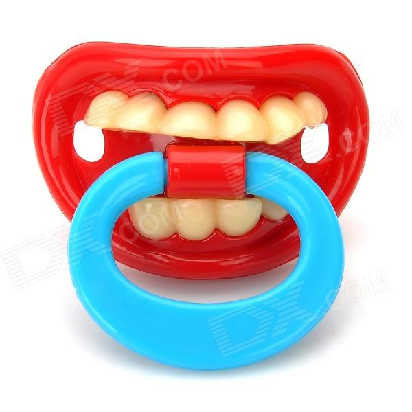 by-5-creative-funny-teeth-personality-pacifier-soother-nipple-red-blue