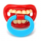 BY-5 creativo divertido Personalidad Dientes Chupete Chupete Nipple - Red + Blue