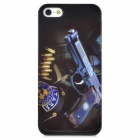 Automatic Pistol Pattern Protective Plastic Hard Back Case for Iphone 5 - Black + Purple