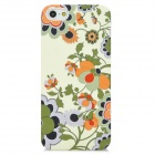 Flower Pattern Protective Plastic Case for iPhone 5 - Beige + Black + Green