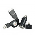 3-in-1 Car Cigarette Lighter Charger + 30Pin to 8Pin Adapter + Data Cable for iPhone 5 / 4 / 4S