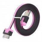 USB to Apple 30 Pin Data + Charging Flat Cable for iPhone 4S / The New iPad - Light Purple + Black