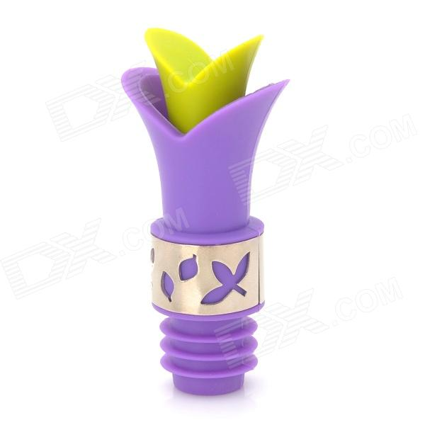 Lily LILY-00 Silicone Wine Bottle Stopper - Purple + Light Green
