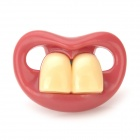 BY-2 Two Front Teeth Silicone Nipple Pacifier - Red + Beige