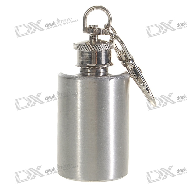 Stainless Steel Circular Liquor Flask Keychain (1.0 oz)