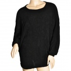 Korean Style Fashion Bat Long Sleeve Round Neck Knitting Shirt for Woman - Black (Free Size)