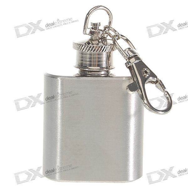Stainless Steel Quadrate Liquor Flask Keychain (1.0 oz)