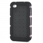 Biscuit Style Protective Silicone Back Case w/ 3 Frames for Iphone 4 / 4S - Black