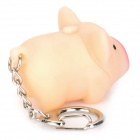 Lovely Pig Style White Light 2-LED Keychain w/ Sound Effect - Beige + Deep Pink (3 x AG13)