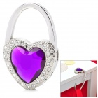 JinSiDun GY5907 Shining Heart Shaped Bag Hanger Holder Hook - Purple + Silver