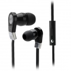 LANGSTONE JV-02 Stereo In-Ear Earphones w/ Microphone + Clip - Black + Silver