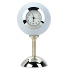 Creative Golfball Style ABS Desk Table Clock - White + Silver (2 x RC2025)