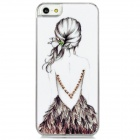 D4-001 View of a Girl's Back Pattern Plastic Back Case for Iphone 5 - Black + Pink + White
