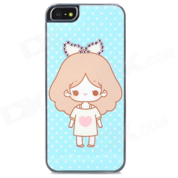 Cute Girl Pattern Protective Rhinestone Decoration Back Case for Iphone 5 - Sky Blue cute girl pattern protective rhinestone decoration back case for iphone 5 light pink light blue
