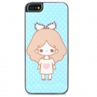 Cute Girl Pattern Protective Rhinestone Decoration Back Case for Iphone 5 - Sky Blue