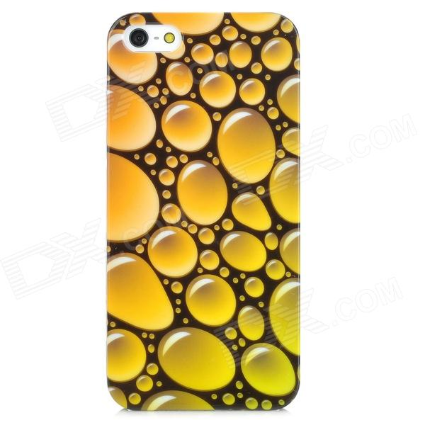 Water Bubble Pattern Protective Plastic Hard Back Case for Iphone 5 - Yellow stylish bubble pattern protective silicone abs back case front frame case for iphone 4 4s