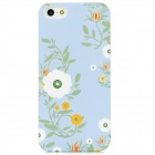 Blooming Flower Pattern Plastic Back Case for iPhone 5 - Light Blue