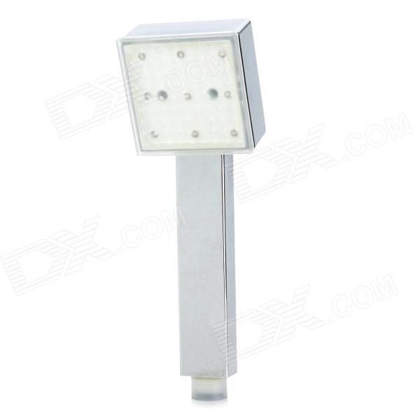 Temperature Sensor RGB Light Changing 9-LED Square Shaped Rainfall Shower Head - Silver