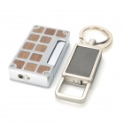 iwoo-B01 Windproof Butane Gas Lighter + 2-Ring Keychain Set - Silver + Black + Wood Color