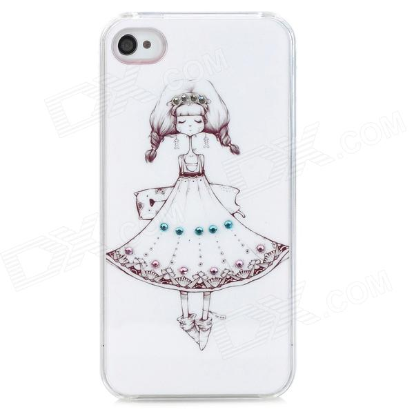 D4-002 Cute Girl with Dress Pattern Plastic Back Case for Iphone 4S - White + Black + Pink cute girl pattern protective rhinestone decoration back case for iphone 5 light pink light blue