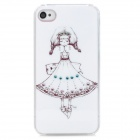 Cute Girl with Dress Pattern Plastic Back Case for Iphone 4S - White + Black + Pink