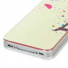 Protective Tower in The Rain Rhinestone Decoration Plastic Case for Iphone 4S - Pink + Light Yellow