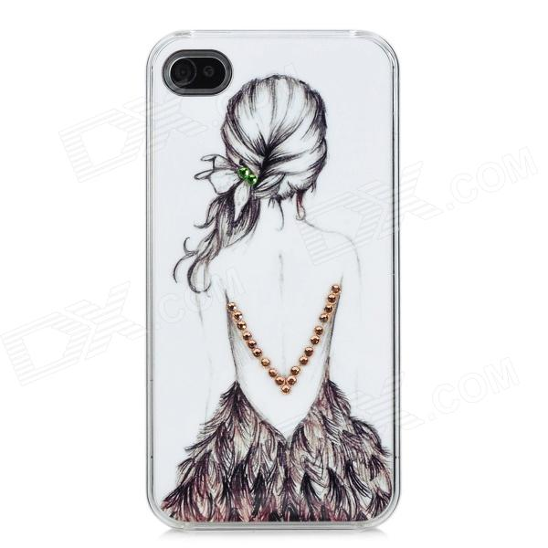 Sketch Beauty in Backless Dress Back Pattern Protective Plastic Back Case for Iphone 4 / 4S - Black