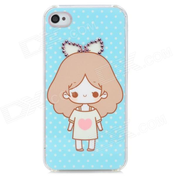 Protective Cute Girl Rhinestone Decoration Plastic Case for Iphone 4 / 4S - Sky Blue cute girl pattern protective rhinestone decoration back case for iphone 5 light pink light blue