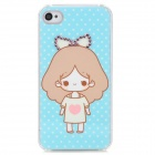 Protective Cute Girl Rhinestone Decoration Plastic Case for Iphone 4 / 4S - Sky Blue