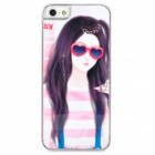 Fashion Beauty Pattern Rhinestone Decoration Plastic Case for Iphone 5 - White + Pink + Black