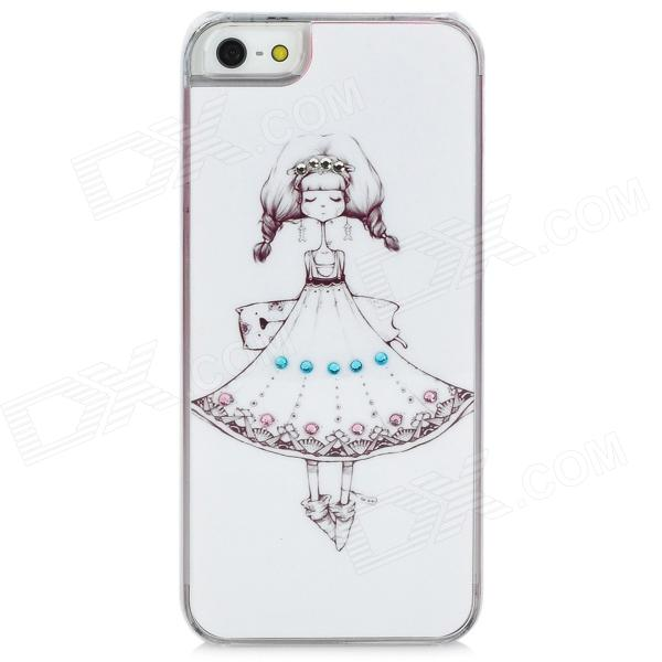 Cute Girl Pattern Protective Plastic Back Case for Iphone 5 - White + Black + Pink girl playing guitar pattern protective back case for iphone 5 white black red