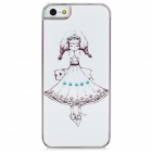Cute Girl Pattern Protective Plastic Back Case for Iphone 5 - White + Black + Pink