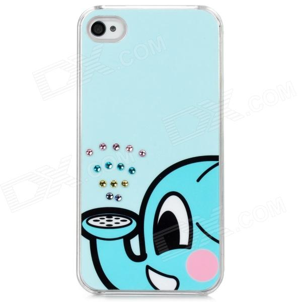 Cute Elephant Spraying Water Pattern Plastic Back Case for Iphone 4 / 4S - Light Blue + Pink