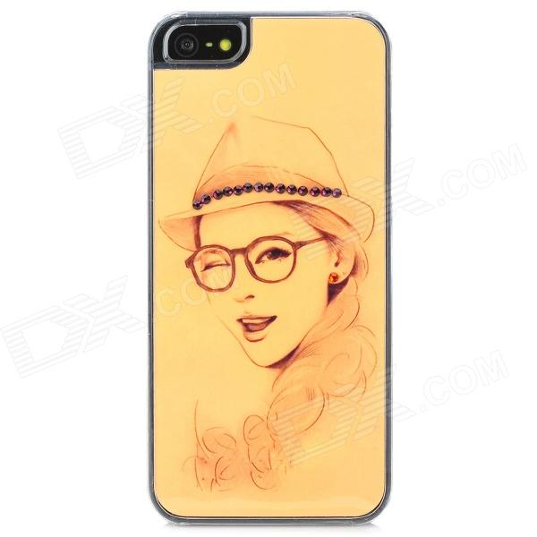 Beauty's Head Portrait Sketch Pattern Protective Plastic Back Case for Iphone 5 - Yellow коврик onlitop blue 134199